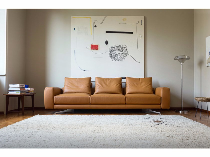 Sectional 3 seater leather sofa ALBERT L by Minimomassimo