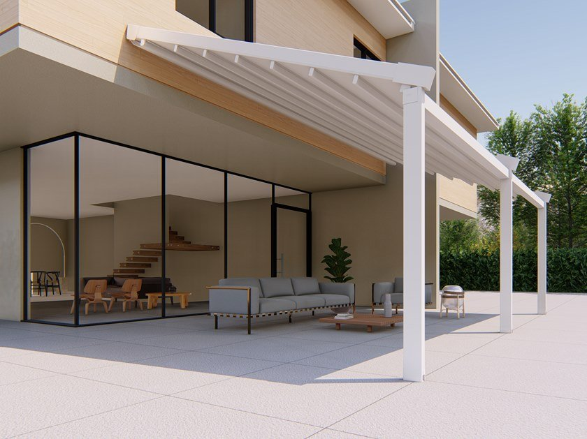 Wall-mounted motorized aluminium and PVC pergola ALBORI by RGM