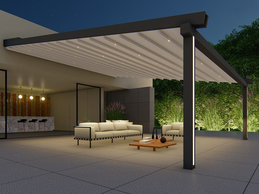Wall-mounted motorized aluminium and PVC pergola with built-in lights ALBORI TWIN by RGM