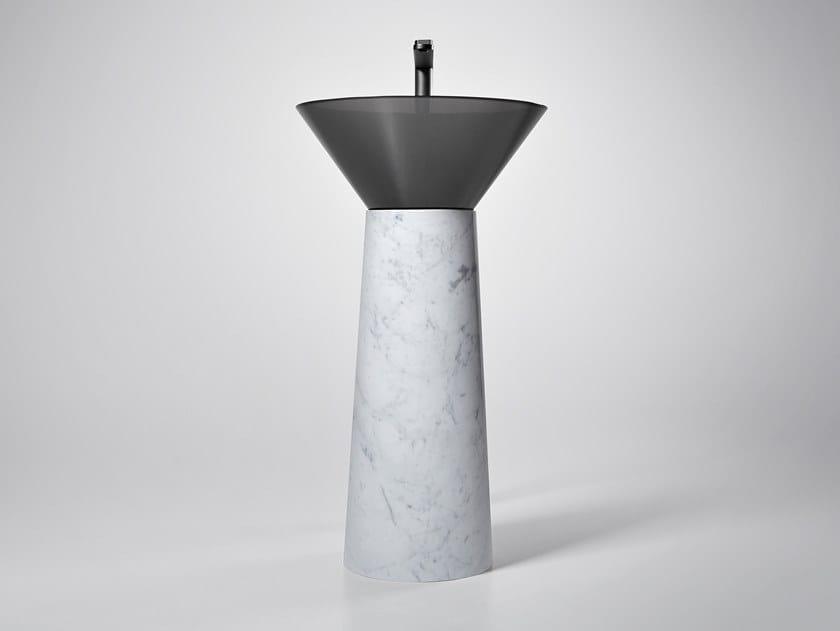 Lavabo freestanding rotondo ALBUME CONO CARRARA by Antonio Lupi Design