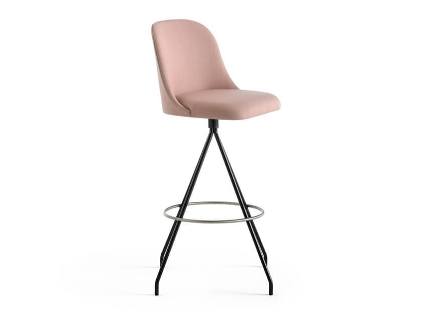 Swivel trestle-based fabric stool ALETA   Swivel stool by Viccarbe