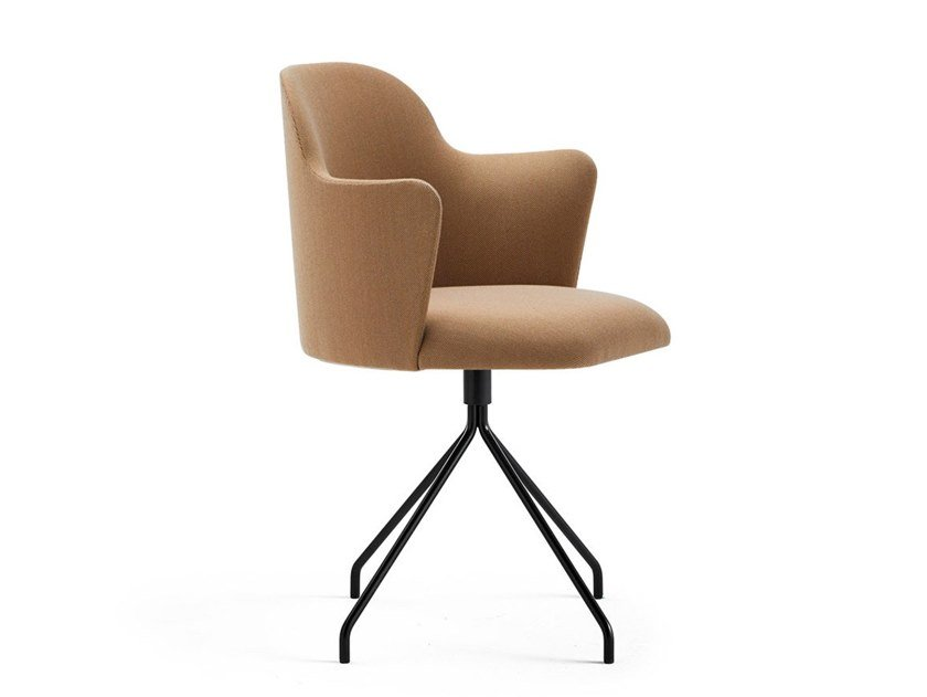 Swivel fabric chair with armrests ALETA | Trestle-based chair by Viccarbe