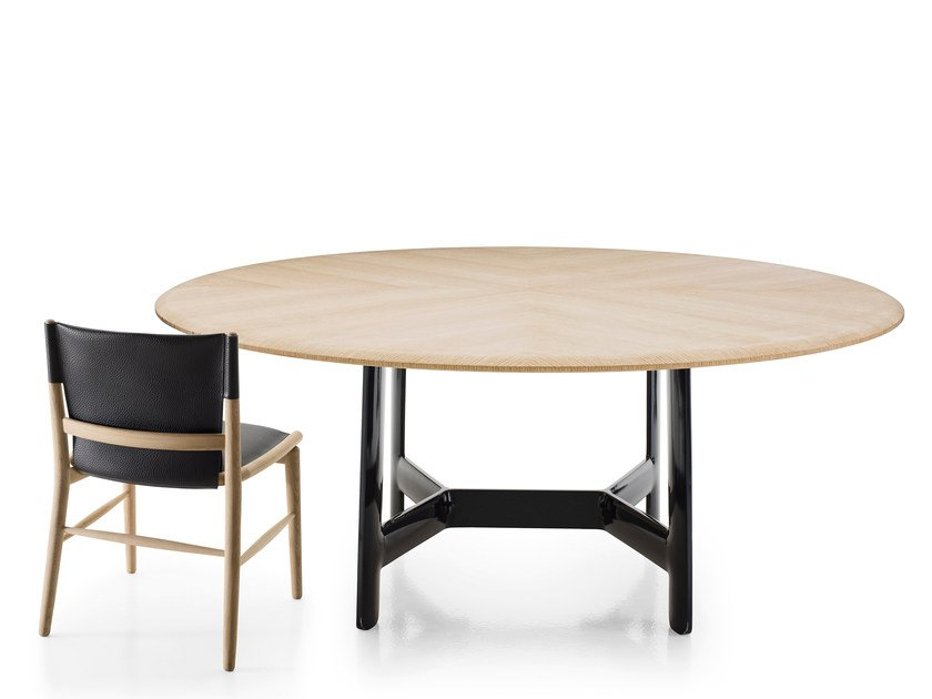 Round oak living room table ALEX | Round table by B&B Italia