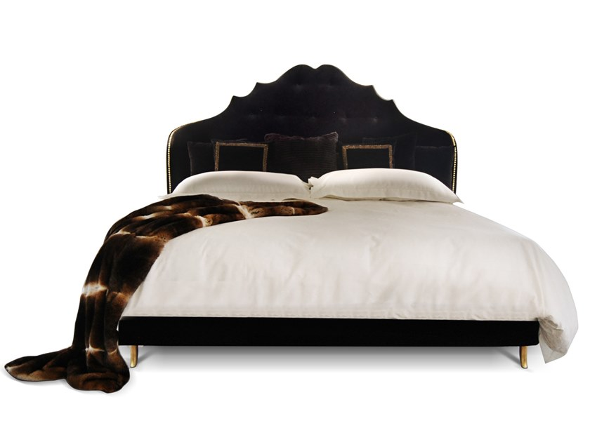 Velvet bed with upholstered headboard ALEXIA by KOKET