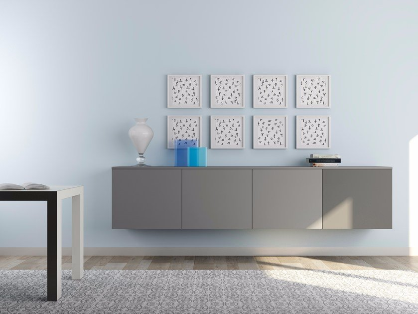 Suspended HPL sideboard with doors ALFABOX | Suspended sideboard by De Rosso