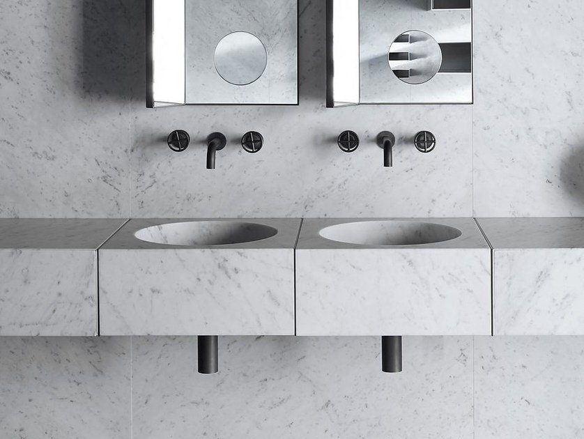 Wall-mounted square stone washbasin ALFEO by SALVATORI
