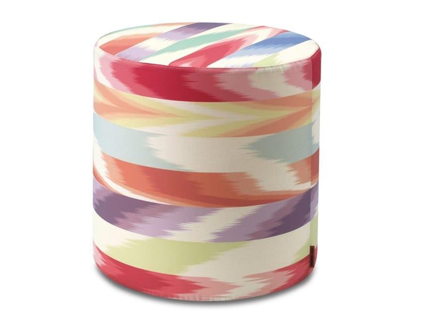 Pouf cilindro in tessuto jacquard fiammato sfoderabile ALICANTE | Pouf by MissoniHome