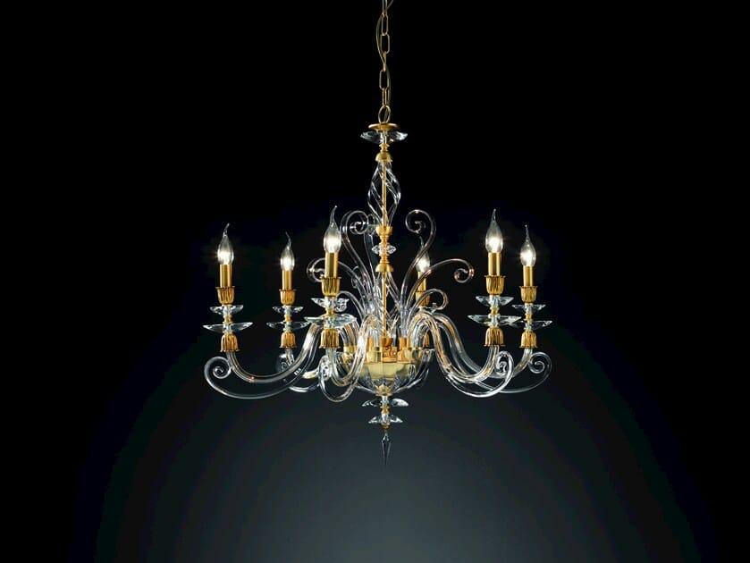 Chandelier with Swarovski® Crystals ALICANTE SATIN L6 by Euroluce Lampadari