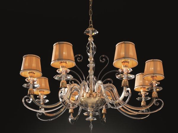 Chandelier with Swarovski® Crystals ALICANTE SATIN L8 SHADE by Euroluce Lampadari