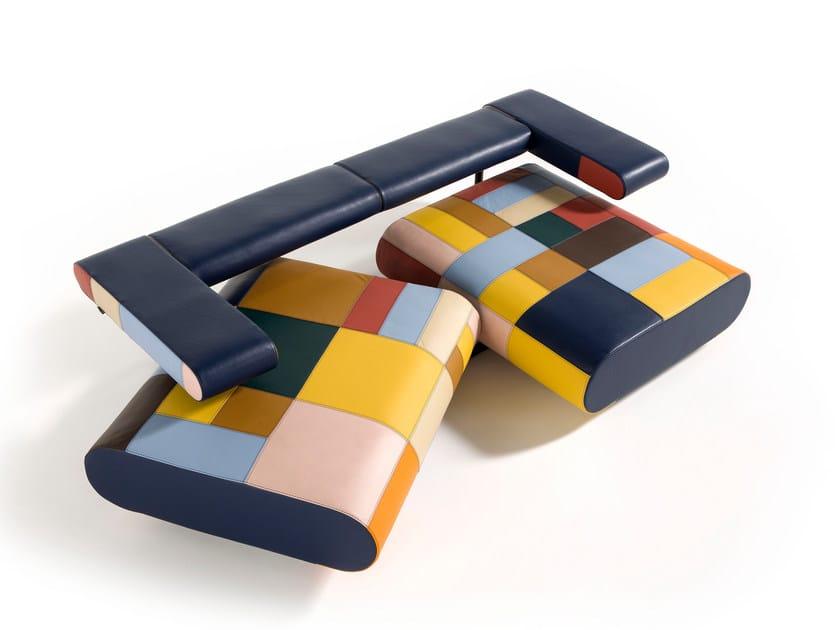 Convertible leather sofa ALICE   Leather sofa by Egoitaliano