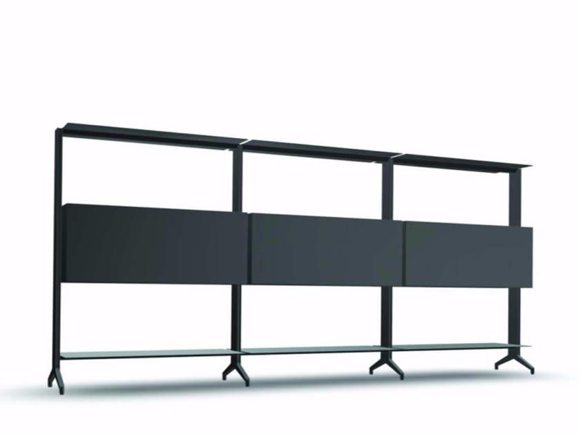 Open modular aluminium bookcase ALINE S02 by Alias