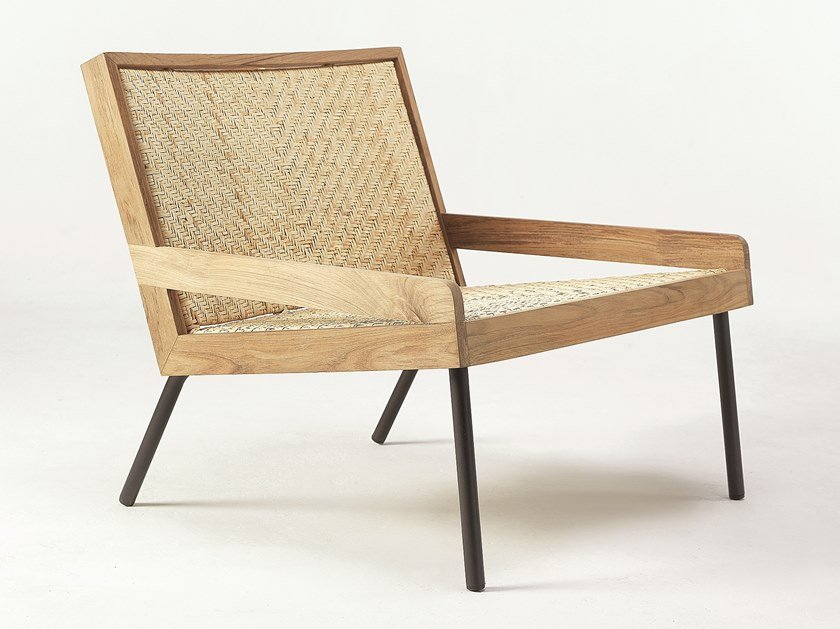 Teak and rattan armchair with armrests ALLAPERTO VERANDA | Armchair by Ethimo