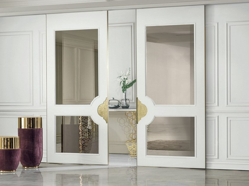 Wood and glass sliding door ALLEY | Sliding door by Longhi