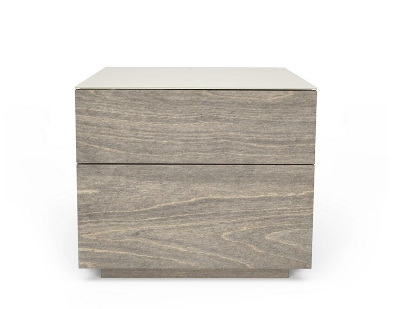 Rectangular birch bedside table with drawers ALMA | Bedside table by Huppé