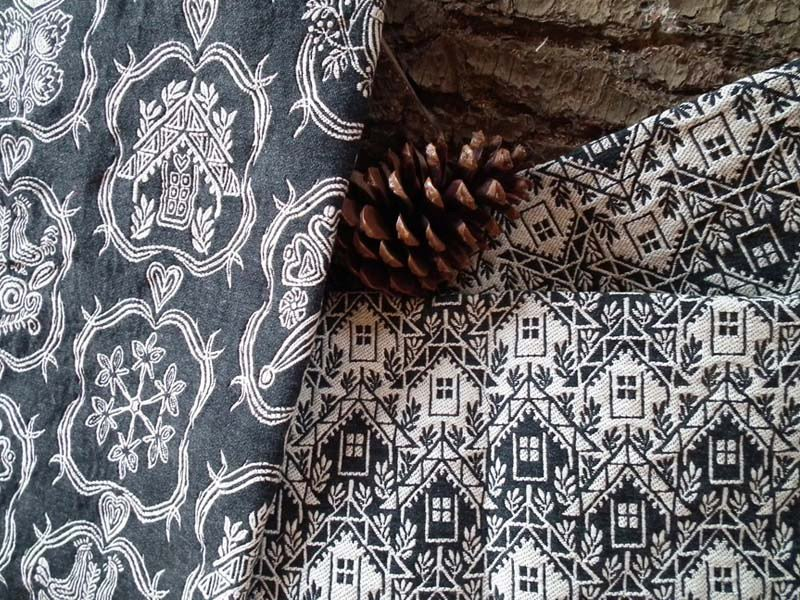 Jacquard fabric with graphic pattern ALPAGE CHALET by l'Opificio