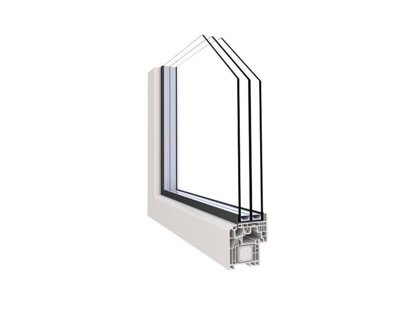 Aluminium and PVC triple glazed window ALPHA 70 LUCE by Punto Gold