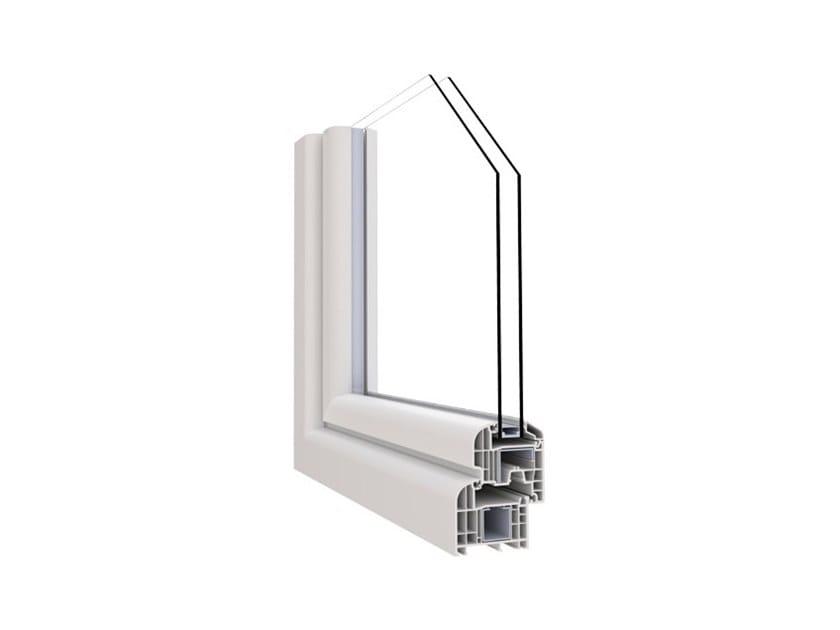 Aluminium and PVC double glazed window ALPHA 70 by Punto Gold
