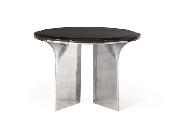 Round aluminium and wood coffee table ALTO | Round coffee table by ROCHE BOBOIS