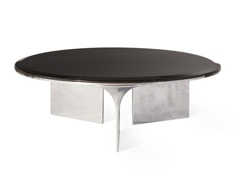 Low round aluminium and wood coffee table ALTO | Coffee table by ROCHE BOBOIS