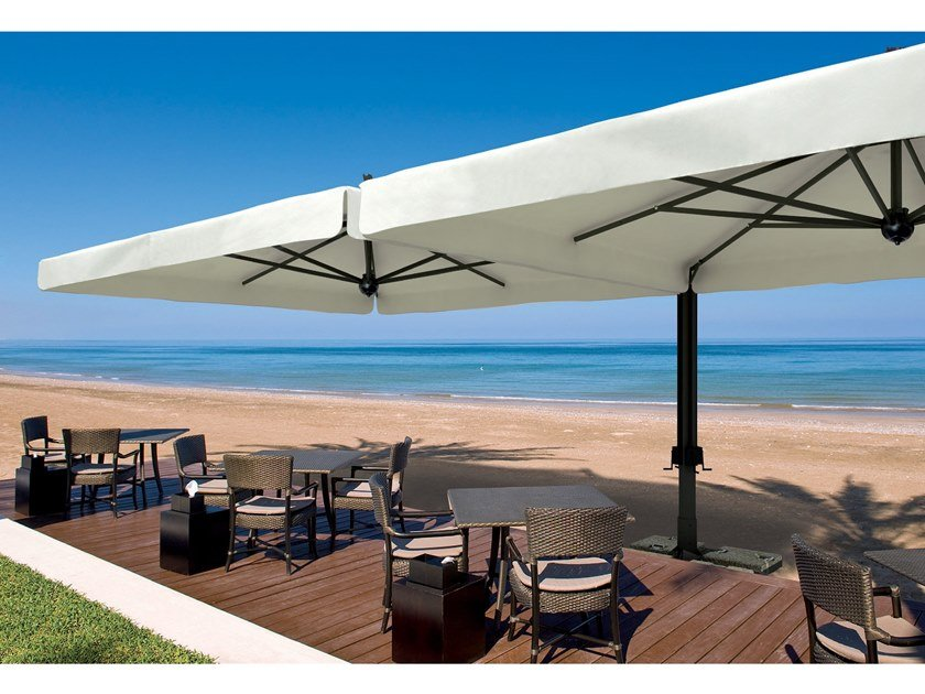 Double square offset Garden umbrella ALU DOUBLE by Scolaro Parasol