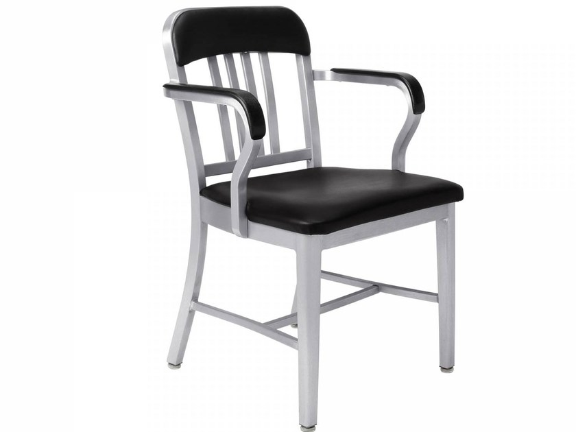 Aluminium chair with armrests NAVY® UPHOLSTERED | Aluminium chair by Emeco