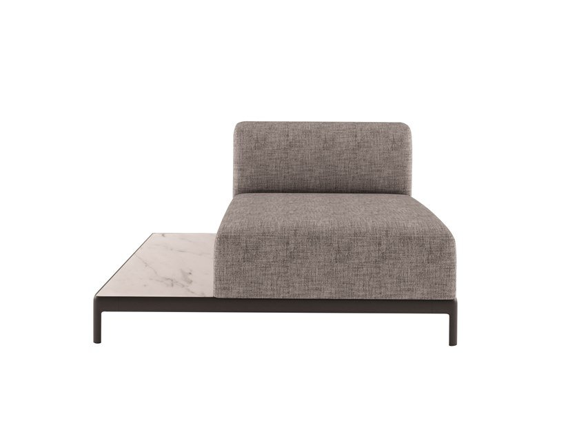 Gepolsterter Sessel aus Stoff mit integriertem Zeitungsständer ALUZEN SOFT TOP - P46 by Alias