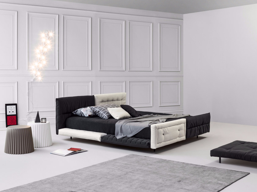 Double bed with removable cover with tufted headboard ALVAR | Double bed by Bonaldo