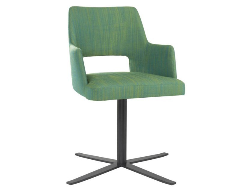 Swivel fabric chair with 4-spoke metal base with armrests AMA PO02 BASE 24 by New Life