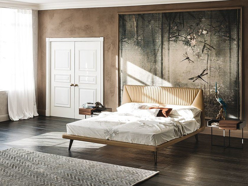 Leather double bed with upholstered headboard AMADEUS by Cattelan Italia