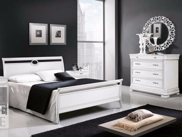 Solid wood double bed AMALFI | Lacquered bed by Arvestyle