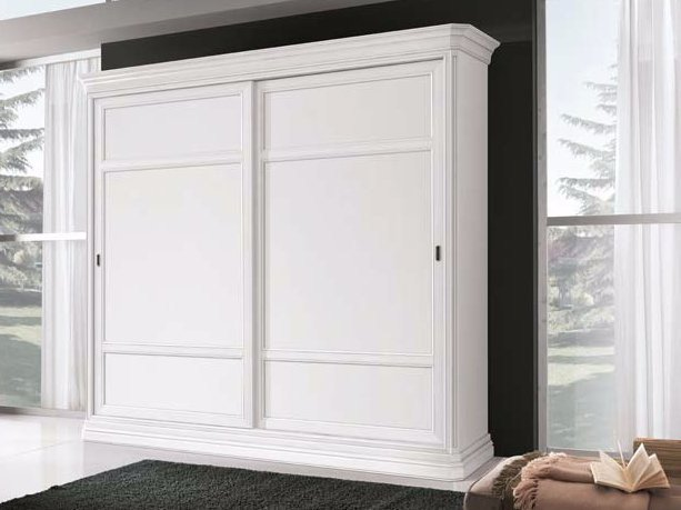 Solid wood wardrobe with sliding doors AMALFI | Lacquered wardrobe by Arvestyle