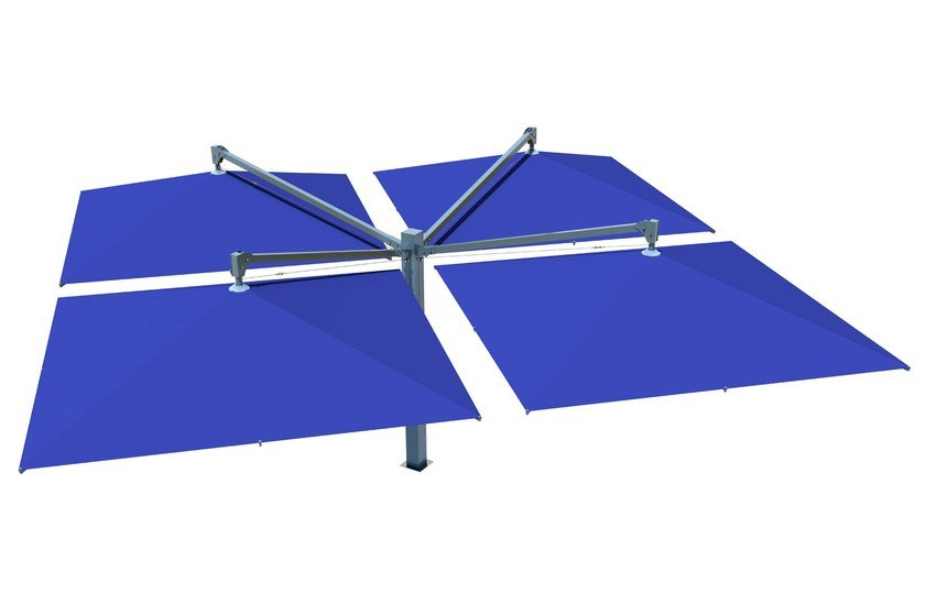 Verstellbarer Doppel- Ampel Gartenschirm aus Acrylgewebe AMALFI QUADRO | Ampel Gartenschirm by Caravita