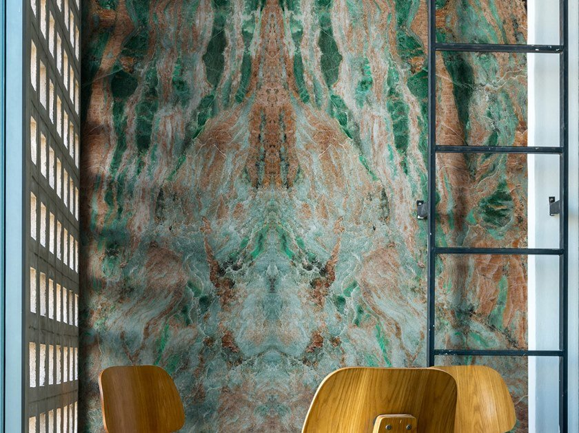 Nonwoven wallpaper with marble effect AMAZZONIA by Tecnografica Italian Wallcoverings