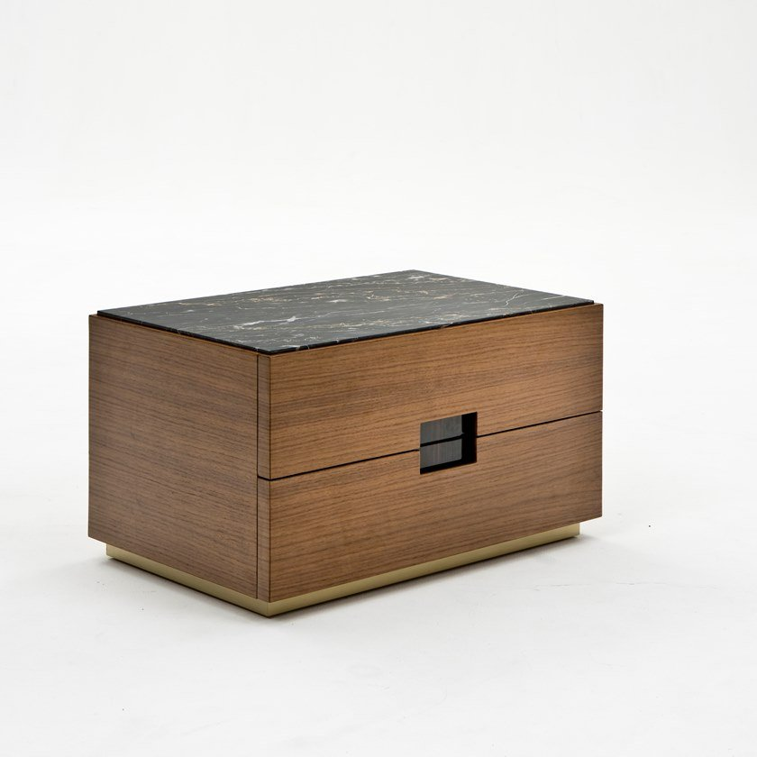 Rectangular walnut bedside table with drawers PEPE by Rozzoni
