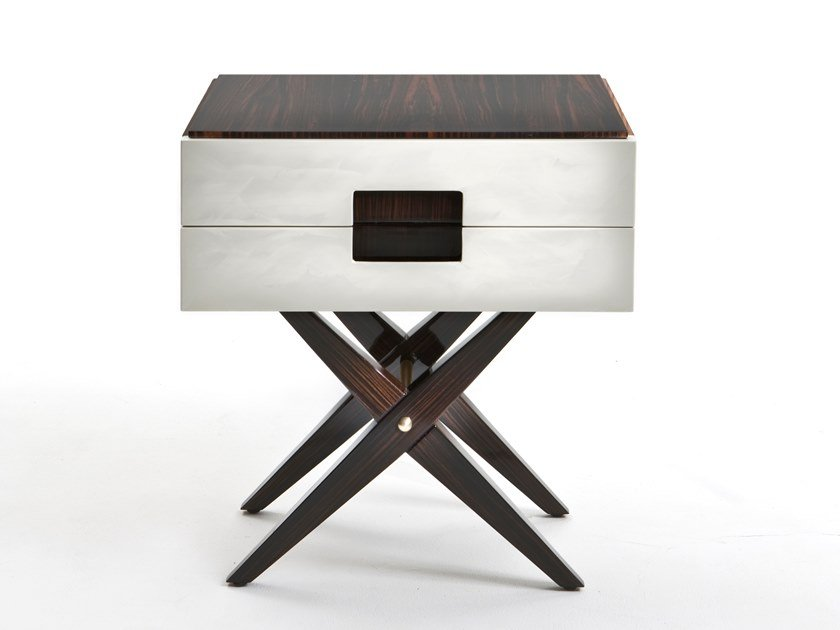 Rectangular walnut bedside table with drawers CARVI by Rozzoni