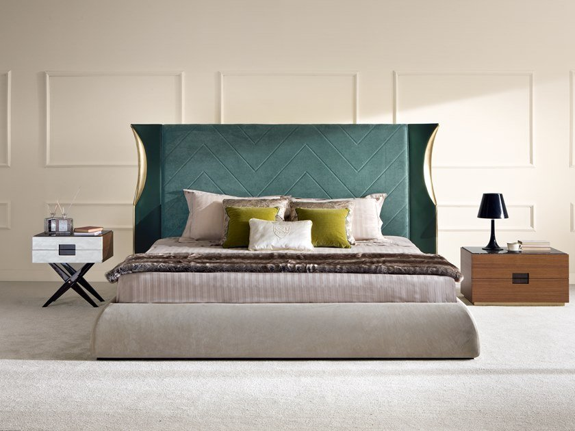 Double bed with upholstered headboard VETIVIER by Rozzoni