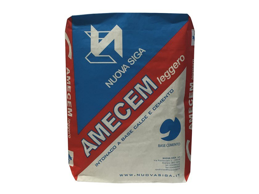 Cement plaster / Hydraulic and hydrated lime based plaster AMECEM LEGGERO by Nuova Siga