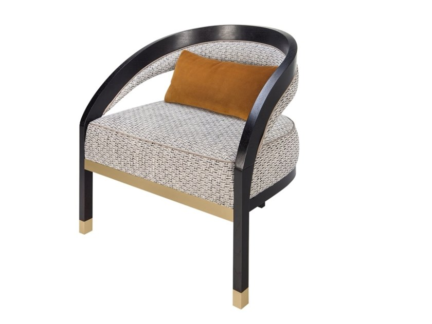 Upholstered fabric armchair with armrests AMER by FRATO