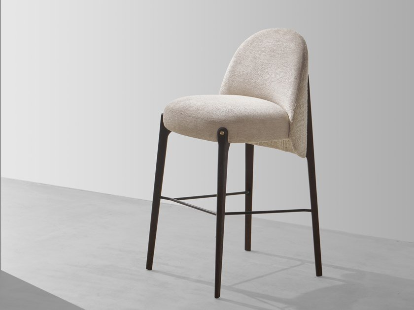 High fabric stool with back AMES   Barstool by District Eight