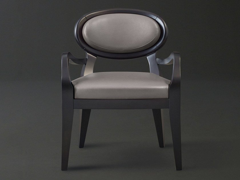 Medallion leather easy chair with armrests AMINA | Leather easy chair by Promemoria