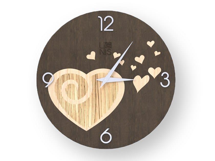 Orologio da parete in legno intarsiato AMOUR WARM | Orologio by LIGNIS®