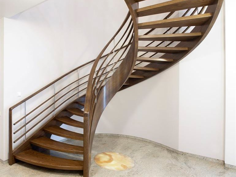 Helical wooden Spiral staircase AMSTERDAM by Siller Treppen