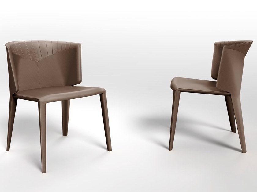 Upholstered tanned leather chair ANASTASIA DINING | Chair by Visionnaire