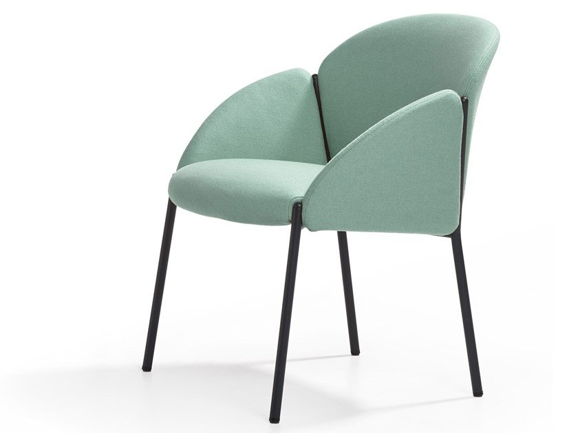 Upholstered fabric chair with armrests ANDREA LOUNGE by Artifort