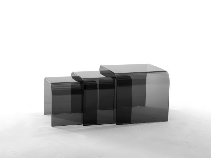 Low rectangular glass coffee table ANEMONE by Tonin Casa