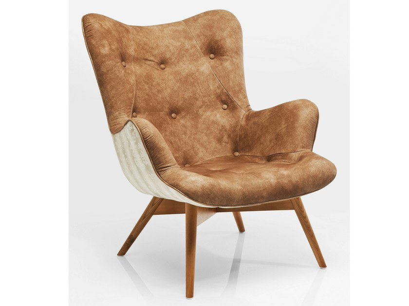 Upholstered leather armchair with armrests ANGELS WINGS LEATHER ALLIUM BROWN | Armchair by KARE-DESIGN