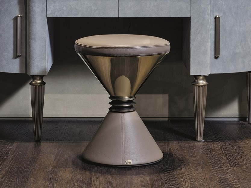 Pouf rotondo in pelle ANGIE | Pouf by Longhi