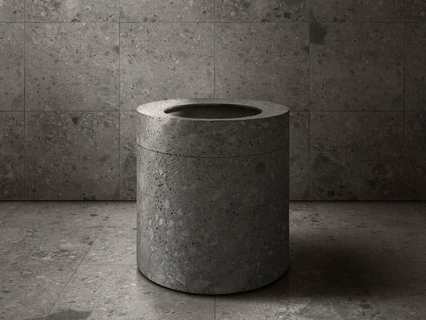 Freestanding round natural stone washbasin ANIMA LIQUIDA by Antonio Lupi Design