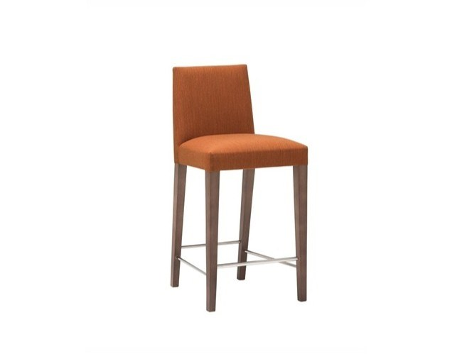 Upholstered fabric stool with back ANNA BQ1385 by Andreu World