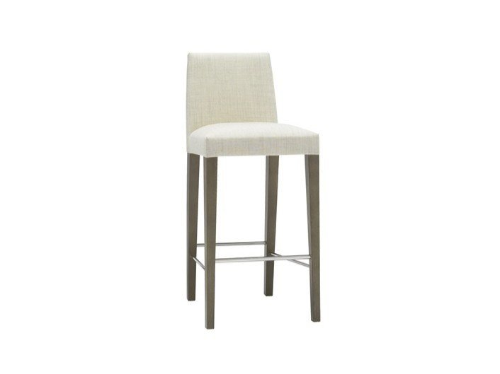 Upholstered fabric stool with back ANNA BQ1386 by Andreu World